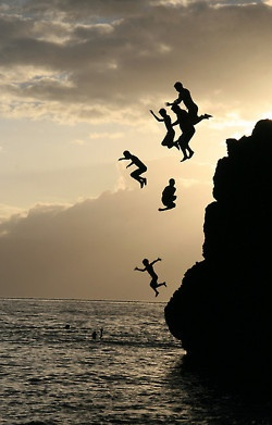 jump off a cliff in the ocean with all your besties and still be alive