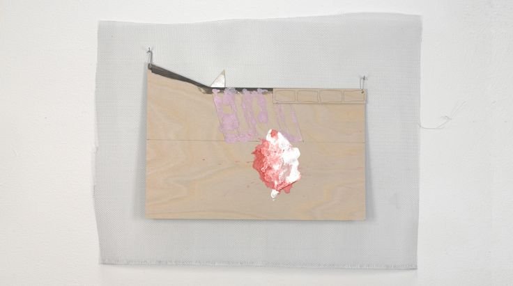 Symbolism 12 2014 wire mesh screen, plywood with 2 affixed wood pieces, ink, pencil, white gesso, metal hooks