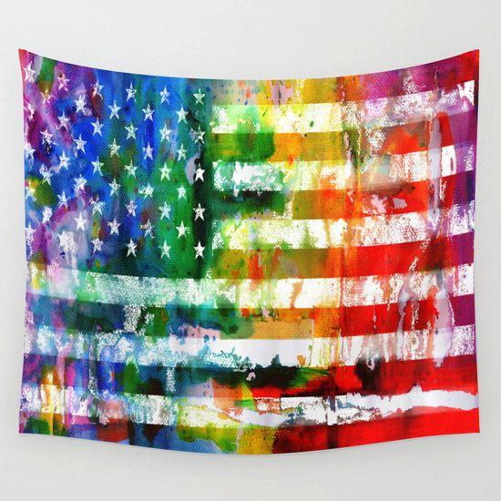 gay pride flag / rainbow American flag / 12.5x 18 by MelGrossArt