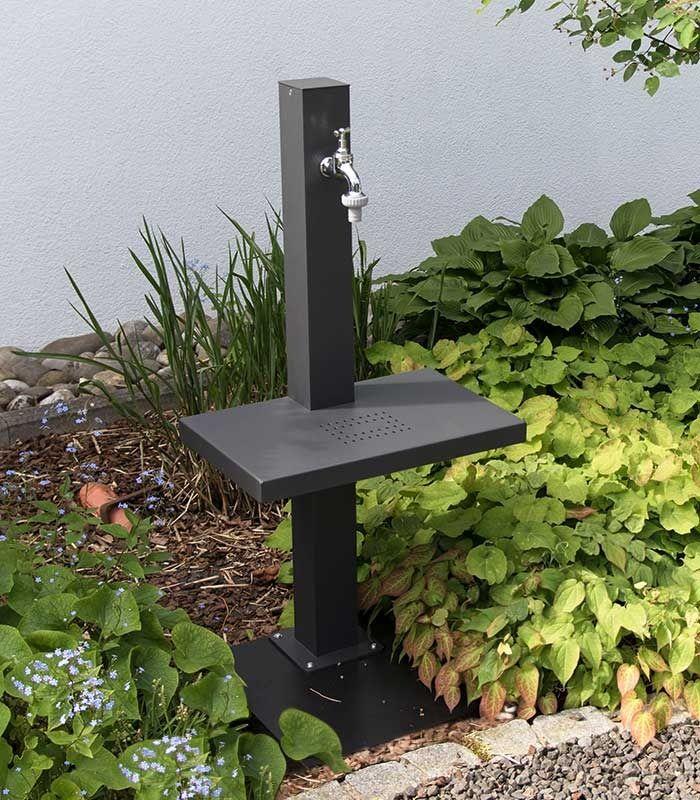Wasserzapfsaule Mit Ablage Grafitgrau Wasserhahn Garten Wasserzapfsaule Gartenteich