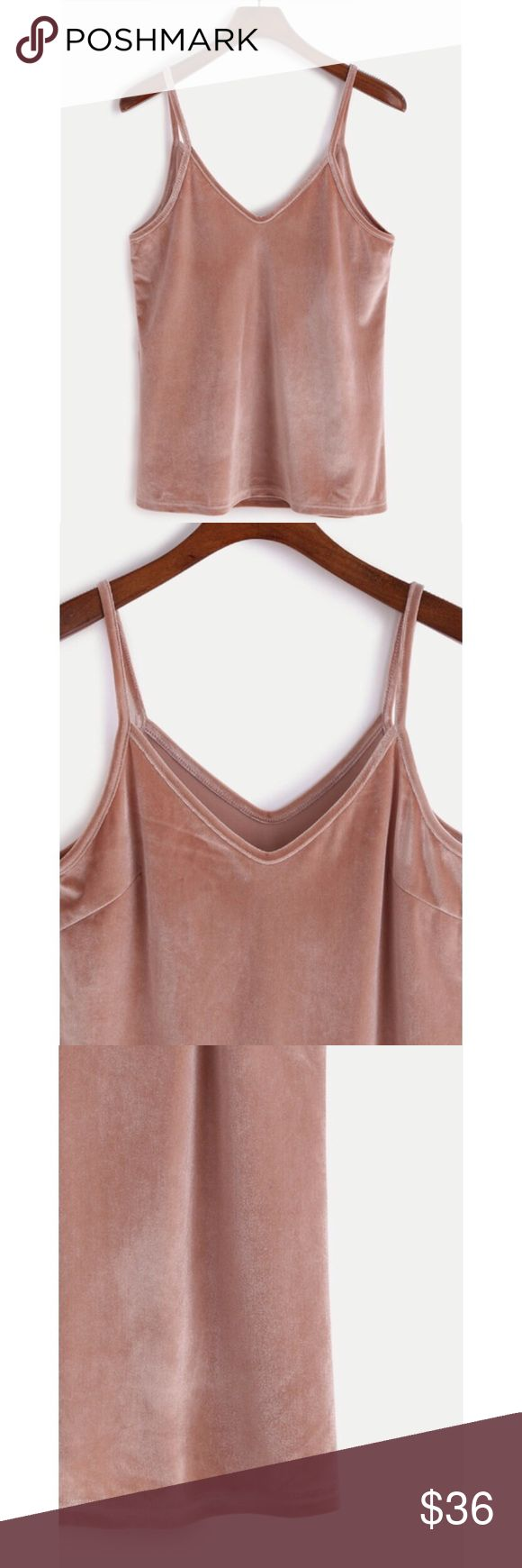 Dusty Pink Velvet Tank Perfect little pink cami top! Fun velvet texture spaghetti top. Trendy dusty pink color. Available in small Medium and large. NWT! Tops Camisoles