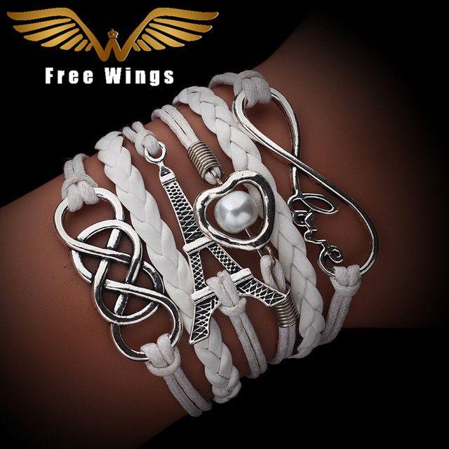 Vintage Mode Oneindige Multilayer Lederen Armbanden Liefde Anker Roer 8 Armbanden Voor Vrouwen Charm Sieraden Accessoires