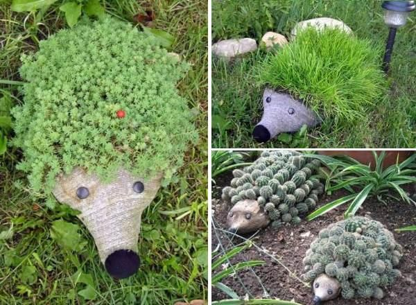 Cute Hedgehog made from a simple PET bottle planter...Use your imagination to make original hedgehogs ! :)…