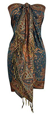 Peach Couture Reversible Exclusive Paisley Pashmina Shawl Wrap Green and Gold: Amazon.ca: Luggage & Bags