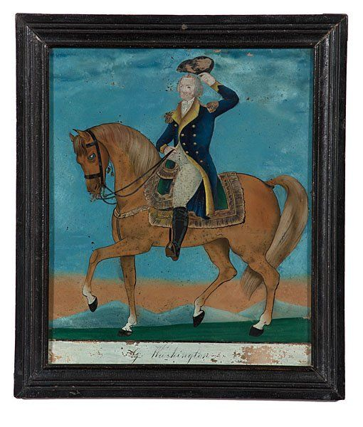 This is a wonderful reverse on glass painting of Washington from mid-19th c.  Rare George Washington on Horseback Reverse Glass : Lot 136 Cowan's Auction