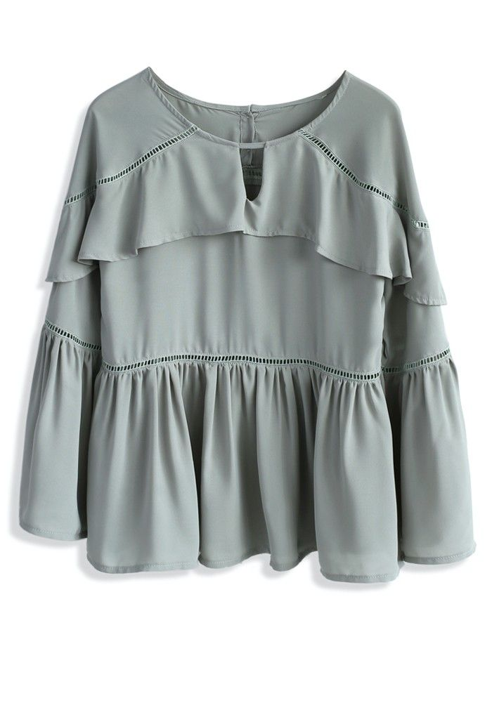 Frilling Melody Chiffon Top in Pea Green - New Arrivals - Retro, Indie and Unique Fashion