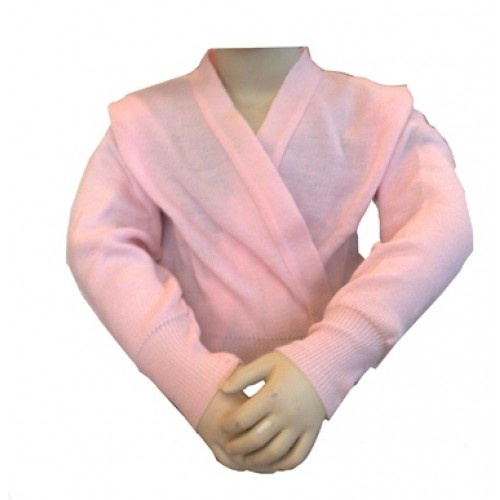 Kid's acrylic crossover ballet wrap  Plie's acrylic 3/4 sleeved crossover cardigan for warming up. Availiable in pink.  Price: 29.00€