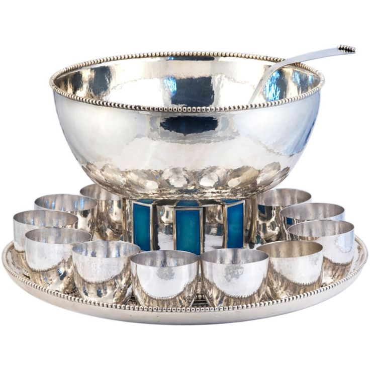 CARTIER ONC (1 Of 10) Punch Bowl Set Sterling Silver W/ 12 Cups Enamelled  1969