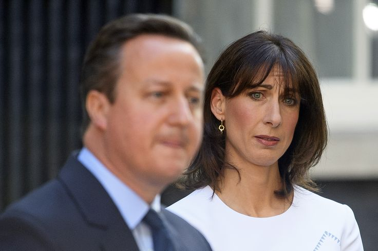 Samantha Cameron waits in the wings to support her defeated husband as he stands down as PM