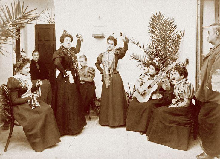 A group of young ladies posing as dancers in Jerez de la Frontera, province of Cadiz, Spain, circa 1900.