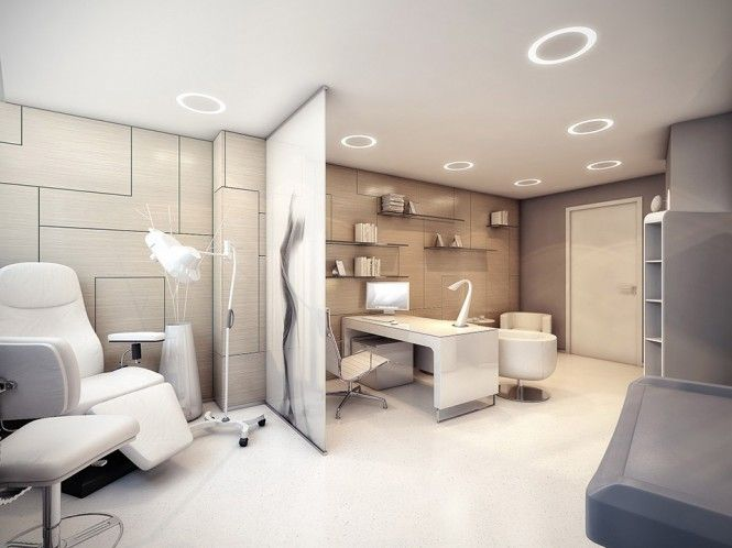 medical office interior-cool divider and lights in ceiling