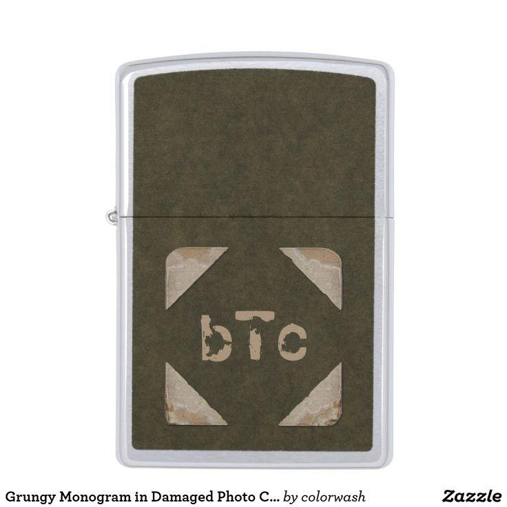 Grungy Monogram in Damaged Photo Corners Zippo Lighter