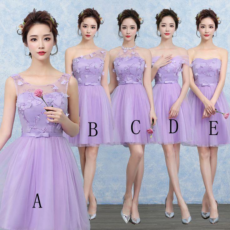 2014 nova dama de honra vestido roxo grupo de moda parágrafo curto ...