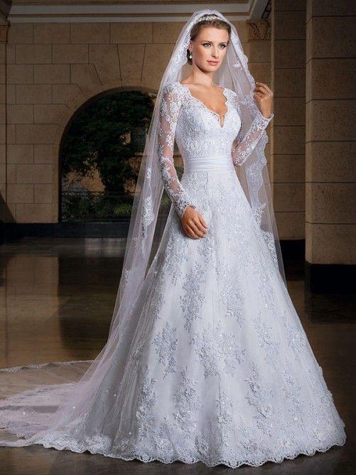 A-line/Stile Principessa Scollo a V Maniche Lunghe Applique Coda a Strascico Cappella Organza Abiti da sposa