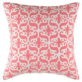 "Bring a bright pop of pattern to your sofa or favorite reading nook with this cotton pillow, featuring an embroidered scrolling motif.  Product: PillowConstruction Material: Cotton cover and cotton fillColor: Pink and whiteFeatures:  Hidden zipper closureEmbroidered detailsInsert included Dimensions: 18"" x 18"""