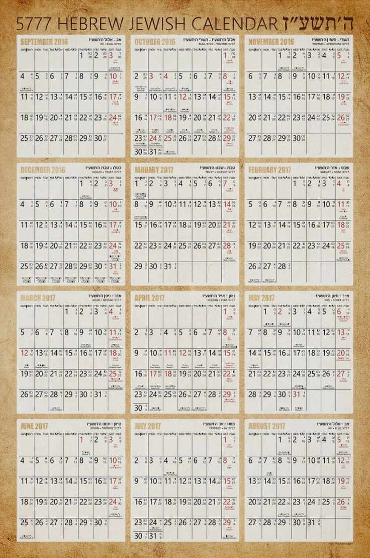 Hebrew Jewish Wall Calendar Poster – Old Paper Background – 5777 – 2017. A great Rosh Hashanah gift for the new Jewish year! This calendar features all Jewish holidays, Shabbat readings (Parashat Hashavuah). The dates are typed in Hebrew and in English. This calendar features 12 months of the Jewish year 5777 from September 2016 to August 2017. You can make customization to this calendar. We wish you Shana Tova! (Happy New Year – Hebrew). More at Superdazzle.com