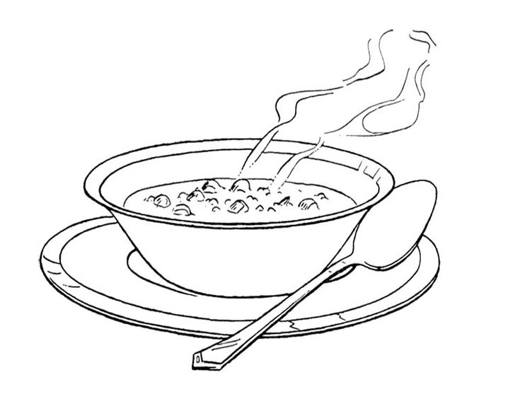 Coloring Page Fish Bowl Empty : Bowl of soup coloring page