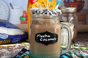 Mocha Coconut Morning Smoothie Recipe. Maybe without the coconut? Looks low-calorie too.