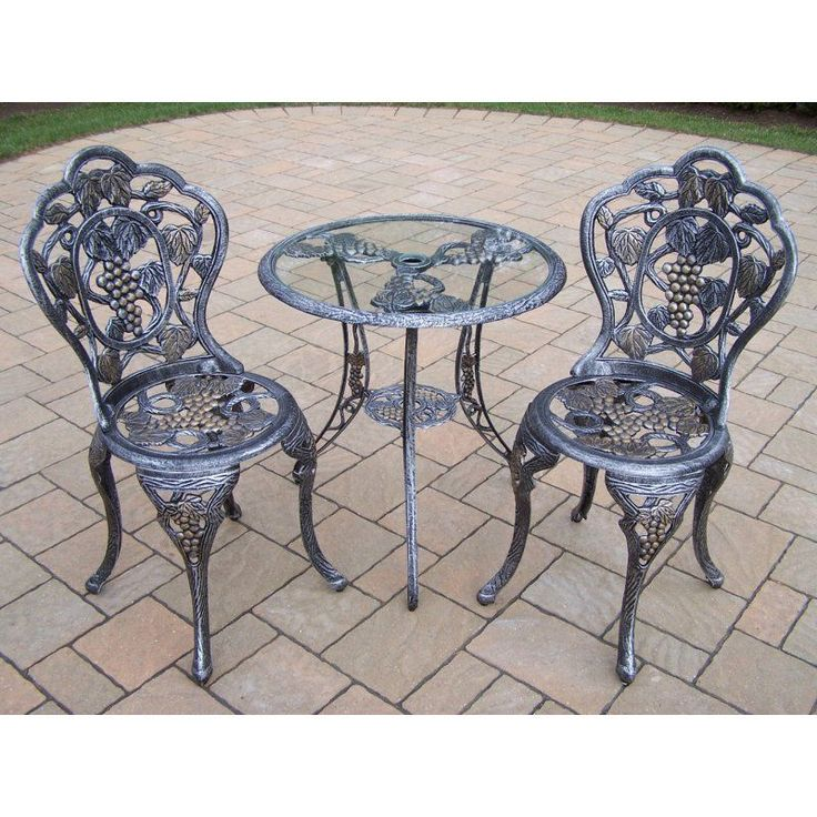 Outdoor Oakland Living Vineyard Cast Aluminum Glass Top Patio Bistro Set    3105 A