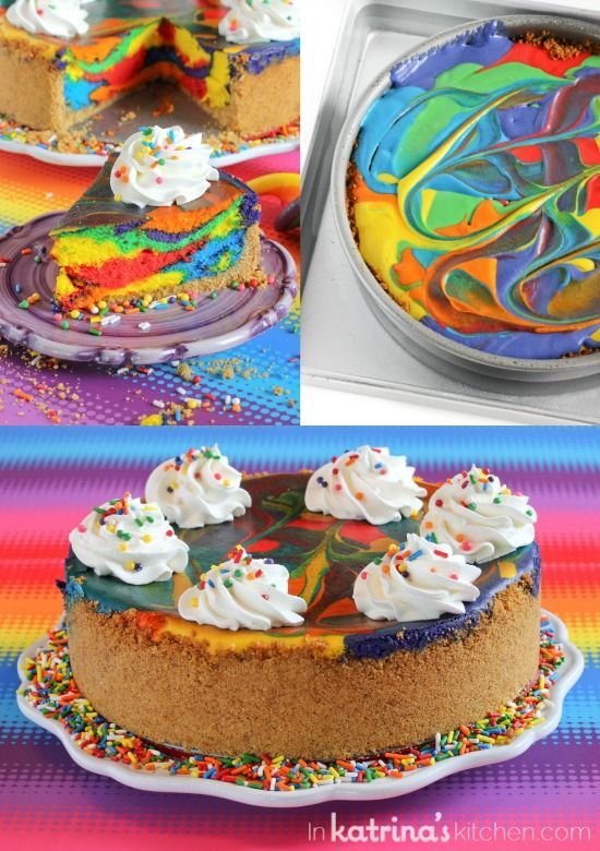 Bright, colorful swirls make this Rainbow Cheesecake pretty to look at, and this is my favorite fluffy cheesecake recipe with a hint of lemon- divine!