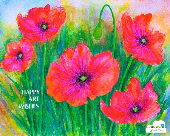 Watercolor Art Print. Poppies in a field stenciled by GinaLeeKim