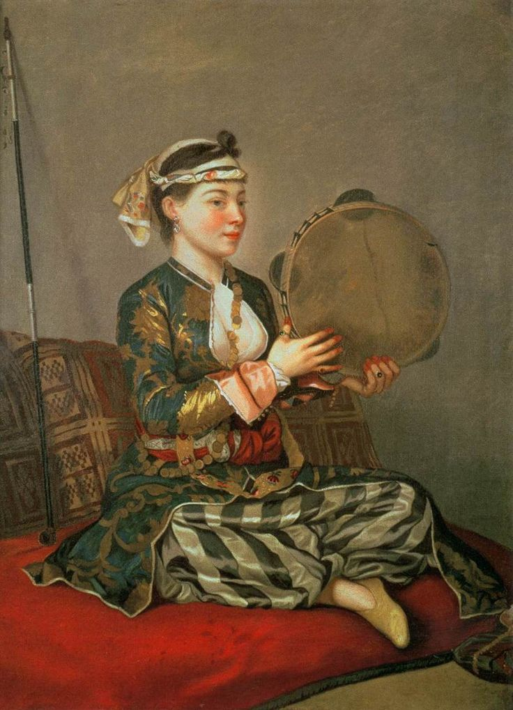 Turkish Woman with a Tambourine by Jean Étienne Liotard (1738-43)
