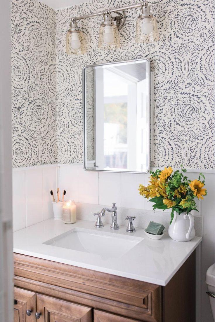 Farmhouse Bathroom Makeover Shiplap Wallpaper Wood Vanity Farmhousebathroom Bathroom Farmhouse Style Bathroom Makeover Modern Farmhouse Bathroom