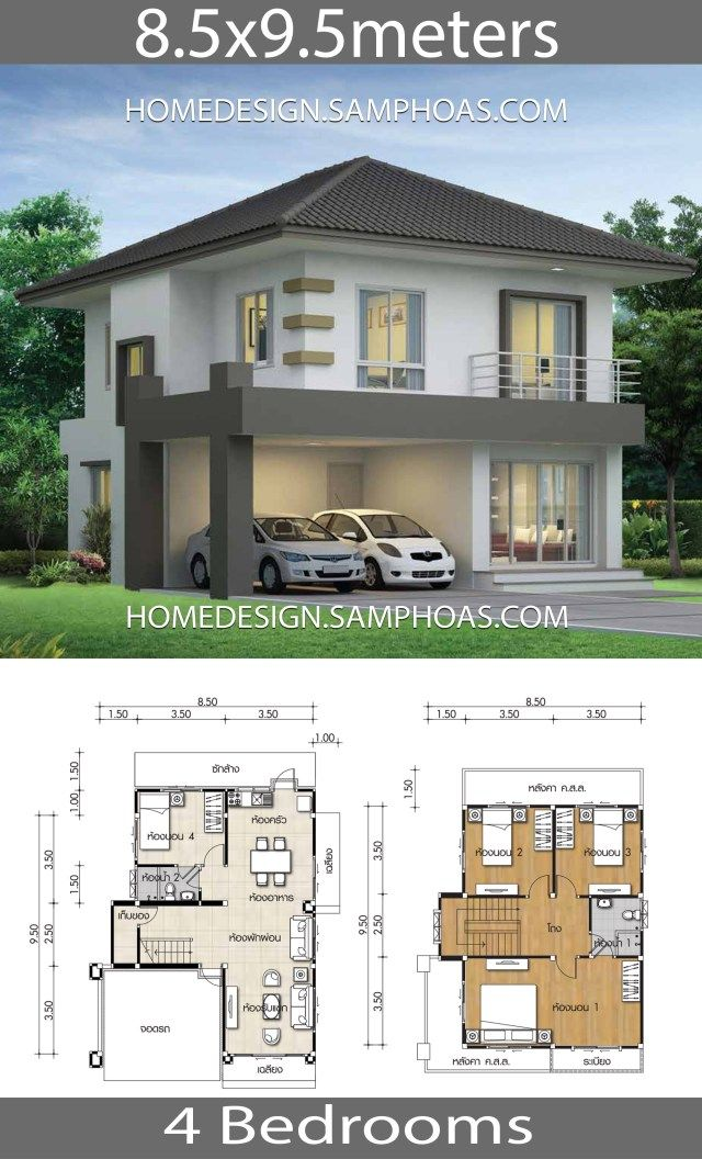 House Design Plans 8 5x9 5m With 4 Bedrooms Home Ideassearch Two Storey House Plans Duplex House Design House Front Design