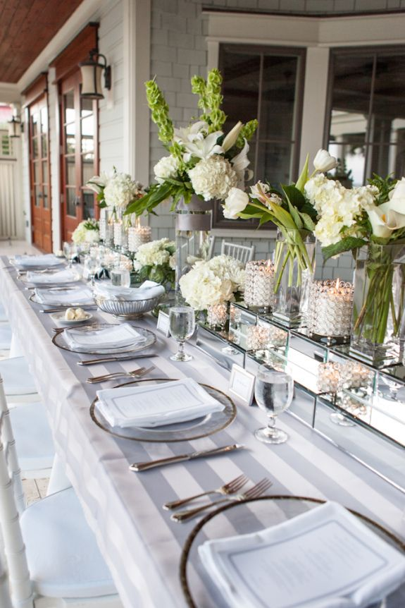 Classic gray and white stripes, silver decor table