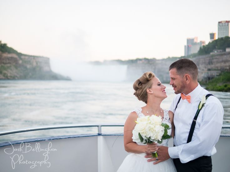 The most beautiful picture of a bride and groom staring into eachother's eyes in front of Niagara Falls. Niagara Falls Ceremonies aboard Hornblower @niagaracruises with Cathy Davis and Co. @cathystainesdav and beautiful flowers done by Niagara Falls' Country Basket Flower Boutique @pambocb . Niagara Falls Wedding Photographer Josh Bellingham Photography. www.joshbellingham.com #JoshBellinghamPhotography