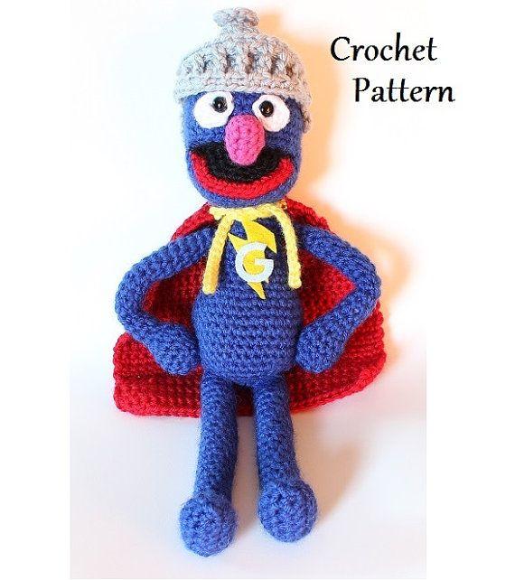 super grover - sesame street- crochet pattern