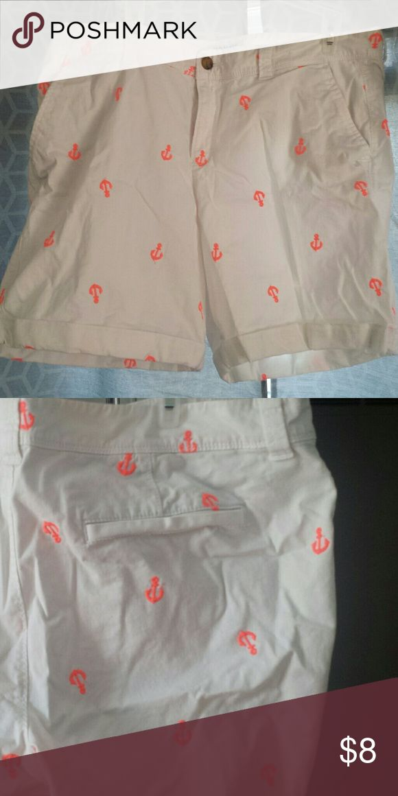 Old Navy Anchor shorts Size 14. White shirts with flourescent orange anchors on the front and back. Old Navy Shorts