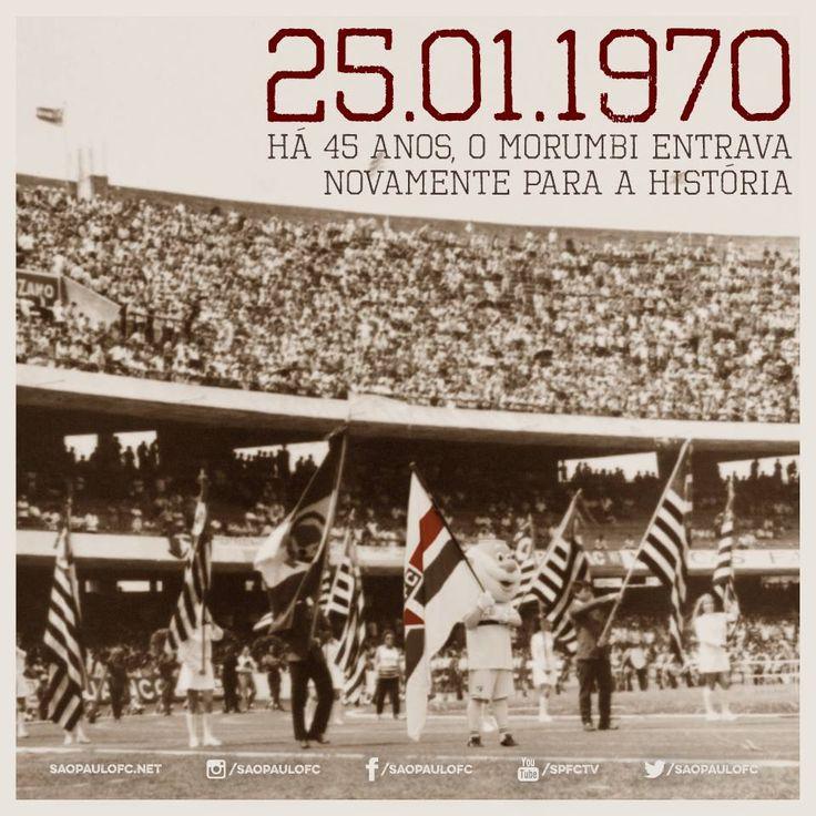 HÁ 45 ANOS, O MORUMBI ENTRAVA NOVAMENTE PARA A HISTÓRIA! Foram 18 anos de árduo trabalho para se erguer e concluir o maior estádio do Mundo - na época. Com obras iniciadas em 1952 e inaugurado em 2 de outubro de 1960, o Estádio Cícero Pompeu de Toledo, o Morumbi, fora totalmente finalizado apenas em 1970. Na partida de comemoração, o São Paulo empatou com o Futebol Clube do Porto (Portugal) em 1 a 1. O gol são-paulino foi marcado por Miruca. (via São Paulo FC no Facebook)