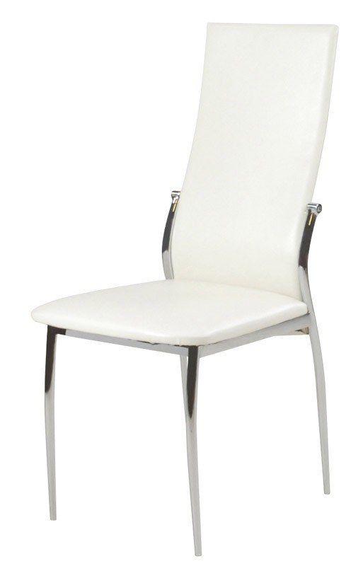 Indi+spisebordsstol+-+Moderne+spisestuestol+i+hvidt+kunstlæder+og+stel+i+blank+krom.+Stolen+har+et+højt+ryglæn+for+en+behagelig+komfort.+Leveres+i+kolli+á+4+stk.