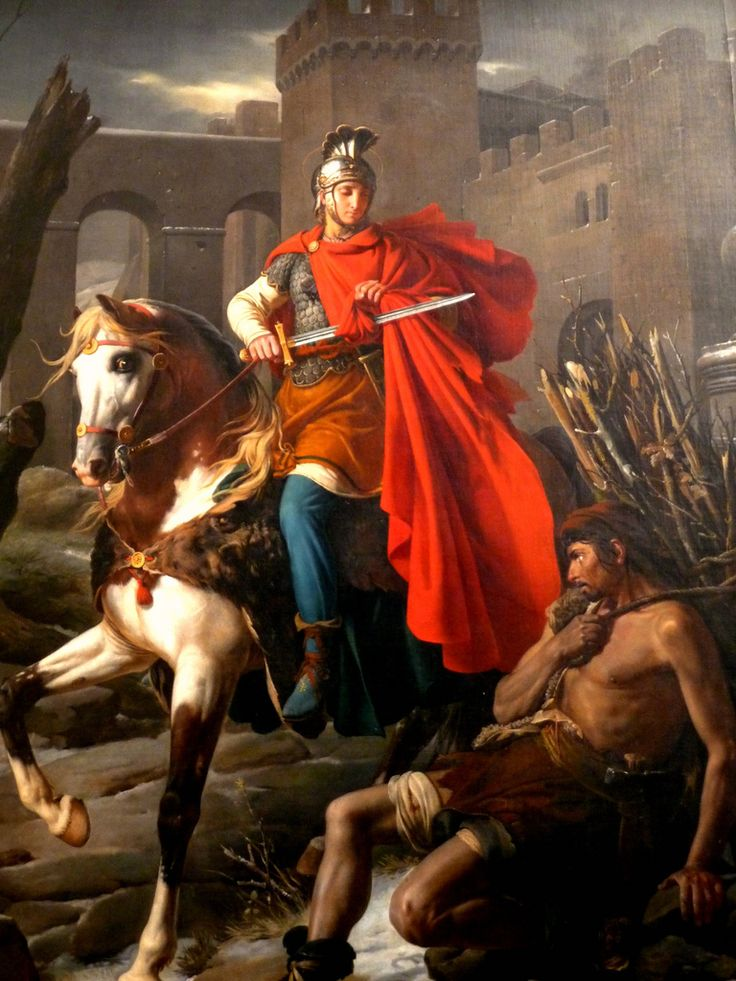 St. Martin of Tours (316 or 336 – 8 November 397) was Bishop of Tours, whose shrine in France became a famous stopping-point for pilgrims on the road to Santiago de Compostela in Spain. He is most generally portrayed on horseback dividing his cloak with the beggar. Patron saint of France, children, beggars, soldiers, travellers. Feast Day: November 11