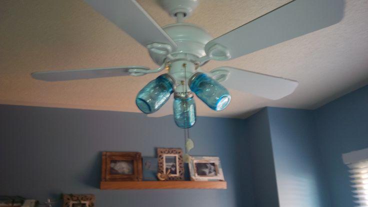 Blue mason jar ceiling fan :)