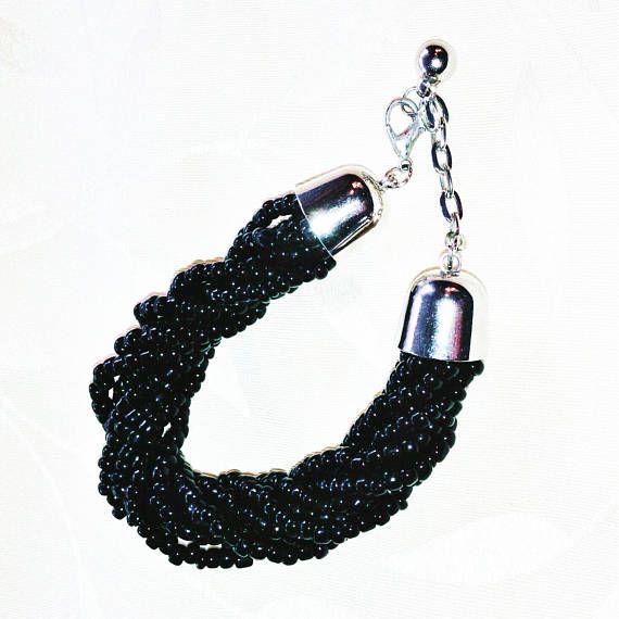 Jet Black Torsade Bracelet Adjustable Handmade Jewelry by