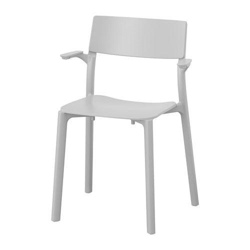 IKEA - JANINGE, Armleunstoel, De stoelen zijn stapelbaar, zodat ze minder plaats innemen als ze niet worden gebruikt.Je kan de stoel meteen gebruiken: hij is al gemonteerd.Kan aan het tafelblad worden gehangen m.b.v. de armleuningen, om het schoonmaken te vereenvoudigen.