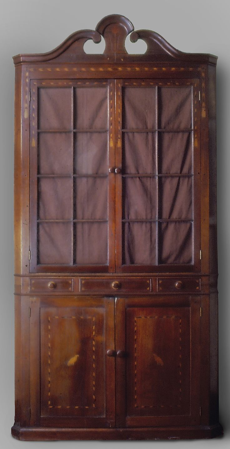 "Fig. 43: Corner cupboard, 1805–1815, Washington Co. or Greene Co., TN. Walnut with darkwood and lightwood inlay (secondary wood not recorded); HOA: 96-7/8"", WOA: 43"". Private collection; MESDA Object Database file S-13028. <a onclick='return hs.printImage(this)' href='#'>Print</a>"