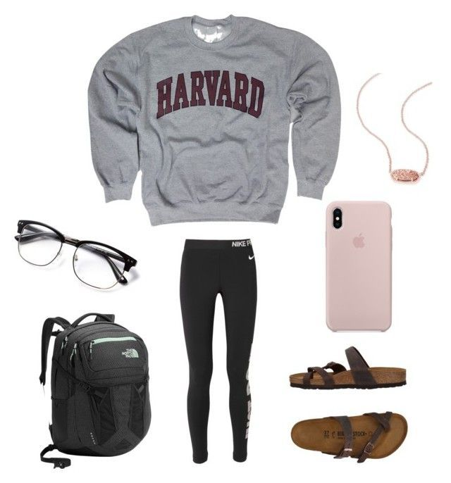 """""""Lazy school day"""" by miricale on Polyvore featuring NIKE, Birkenstock, The North Face and Kendra Scott"""