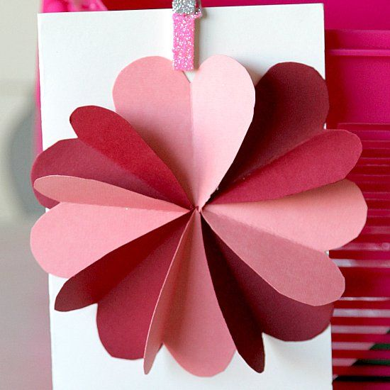 DIY Flower by Hearts Card Tutorial, easy to make card for kids