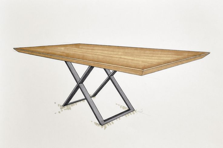 Handcrafted bespoke wooden table with metal legs. Furnitures for dining room. Modern, rustic, industrial.