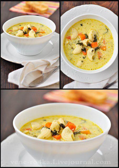 Сырно-молочный суп с овощами и макаронными изделиями.