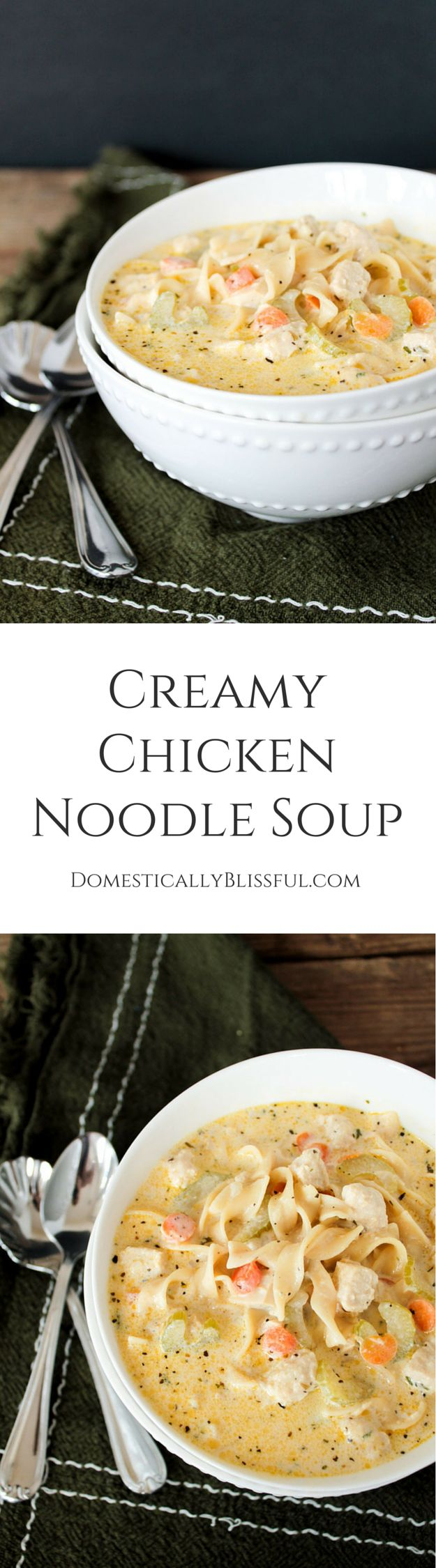 Creamy Chicken Noodle Soup for vegetarians by Domestically Blissful