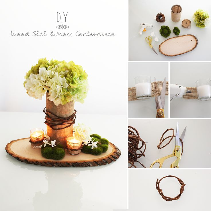 wedding centerpieces fake flowers%0A Simple DIY design for your rustic wedding  Glue burlap to clear glass  cylinder vases and votives  wrap with bark wire  fill with your favorite  fau u
