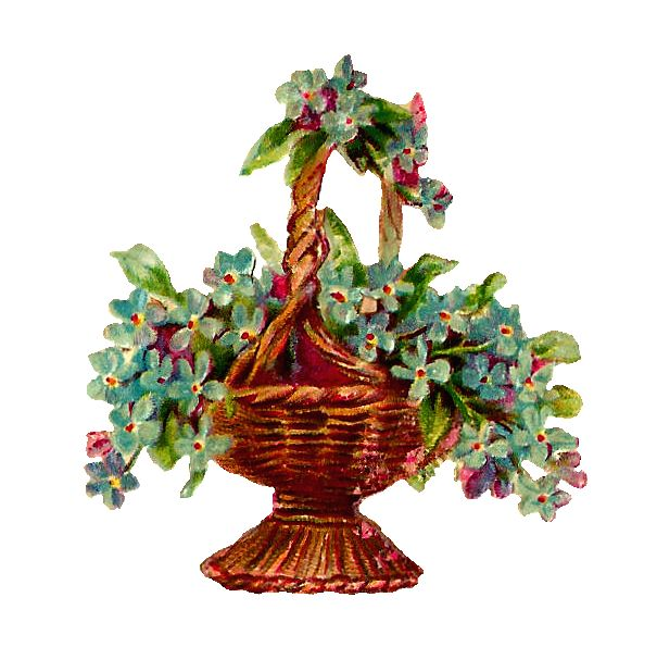 Antique Images: Free Vintage Flower Basket Clip Art of Wicker Basket with Forget-Me-Nots