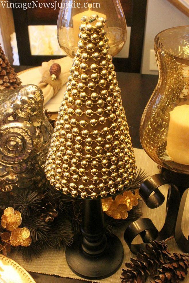 Hometalk :: Easy Peasy DIY Christmas Tree With Gold Beads