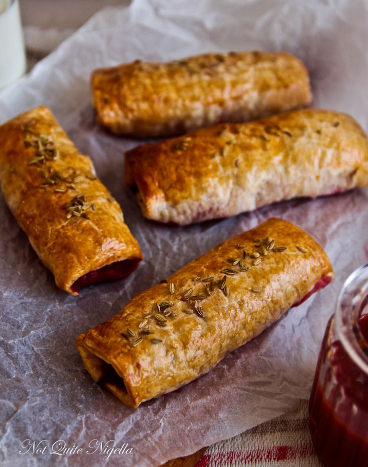 pork, fennel and beetroot sausage roll