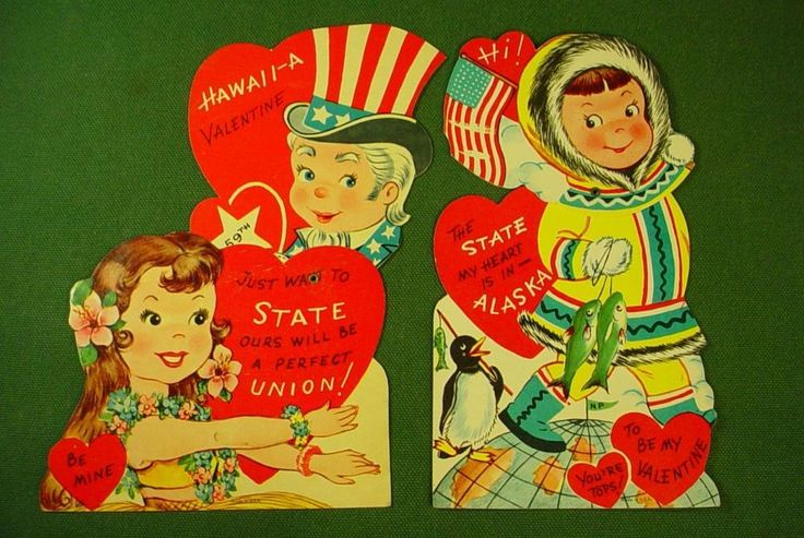 VINTAGE 1950s ALASKA HAWAII STATEHOOD VALENTINE CARDS ........... RARE MISPRINT! | Collectibles, Paper, Vintage Greeting Cards | eBay!
