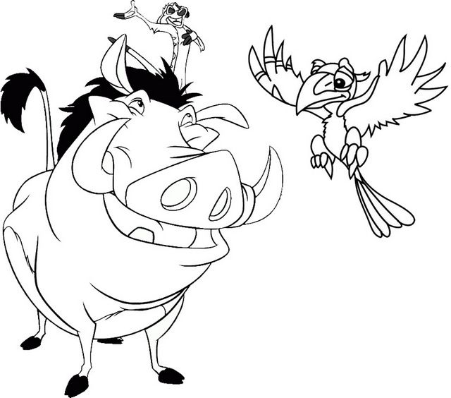 Timon Pumbaa And Zazu Coloring Page Of The Lion King